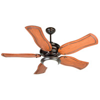 Townsend 52 inch Oiled Bronze Mahogany Ceiling Fan With Blades Included in Custom Carved, 0, Cased White Glass