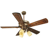 Woodward 52 inch Dark Coffee and Vintage Madera Walnut/Vintage Madera Ceiling Fan With Blades Included in Solid Wood Blades, Custom Carved, Antique Scavo Glass