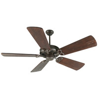 Craftmade K10813 American Tradition 54 inch Aged Bronze Textured with Hand-Scraped Walnut Blades Ceiling Fan Kit in Light Kit Sold Separately, Premier, 0, Solid Wood Blades, Blades Included