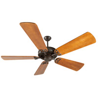 Craftmade K10815 American Tradition 54 inch Aged Bronze Textured with Distressed Teak Blades Ceiling Fan Kit in Light Kit Sold Separately, Premier, 0, Solid Wood Blades, Blades Included