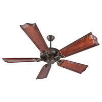 Craftmade K10818 American Tradition 56 inch Aged Bronze Textured with Mahogany Blades Ceiling Fan Kit in Light Kit Sold Separately, Custom Carved, Wellington Mahogany, 0, Solid Wood Blades, Blades Included