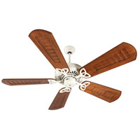 Craftmade K10823 American Tradition 56 inch Antique White with Scalloped Walnut Blades Ceiling Fan Kit in Light Kit Sold Separately, Custom Carved, 0, Solid Wood Blades, Blades Included