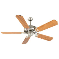 Craftmade K10824 American Tradition 52 inch Brushed Satin Nickel with Walnut Blades Ceiling Fan Kit in Plywood Blades, Custom Wood, 0, Light Kit Sold Separately, Blades Included