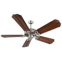 Craftmade K10830 American Tradition 56 inch Brushed Satin Nickel with Oak with Aged Bronze Accents Blades Ceiling Fan Kit in Light Kit Sold Separately, Custom Carved, Chamberlain Oak with Aged Bronze Accents, 0, Solid Wood Blades, Blades Included