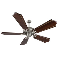 Craftmade K10831 American Tradition 56 inch Brushed Satin Nickel with Classic Walnut and Vintage Madera Blades Ceiling Fan Kit in Light Kit Sold Separately, Custom Carved, Classic Walnut/Vintage Madera, 0, Solid Wood Blades, Blades Included