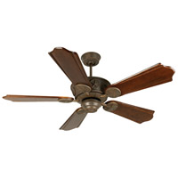 Chaparral 52 inch Aged Bronze Textured with Classic Ebony Blades Ceiling Fan With Blades Included in Solid Wood Blades, Custom Carved, Light Kit Sold Separately