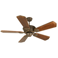 Chaparral 52 inch Aged Bronze Textured with Walnut/Vintage Madera Blades Ceiling Fan With Blades Included in Ophelia Walnut/Vintage Madera, Solid Wood Blades, Custom Carved, Light Kit Sold Separately