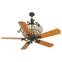 Cortana 52 inch Peruvian Bronze with Teak Blades Ceiling Fan With Blades Included in Plywood Blades, Custom Wood, 3