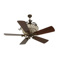 Cortana 52 inch Peruvian Bronze with Hand-Scraped Walnut Blades Ceiling Fan With Blades Included in Solid Wood Blades, Premier, 3