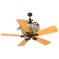 Cortana 52 inch Peruvian Bronze with Distressed Oak Blades Ceiling Fan With Blades Included in Solid Wood Blades, Premier, 3