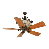 Cortana 52 inch Peruvian Bronze with Hand-Scraped Teak Blades Ceiling Fan With Blades Included in Solid Wood Blades, Premier, 3