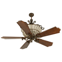 Craftmade K10881 Cortana 56 inch Peruvian Bronze with Classic Ebony Blades Ceiling Fan Kit in Custom Carved, 3, Solid Wood Blades, Blades Included