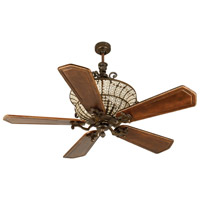 Craftmade K10882 Cortana 56 inch Peruvian Bronze with Walnut and Vintage Madera Blades Ceiling Fan Kit in Custom Carved, Ophelia Walnut/Vintage Madera, 3, Solid Wood Blades, Blades Included