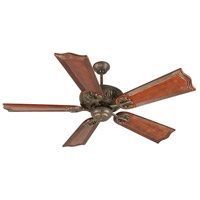 Craftmade K10907 Cordova 56 inch Aged Bronze Textured with Mahogany Blades Ceiling Fan Kit in Light Kit Sold Separately, Custom Carved, Wellington Mahogany, Solid Wood Blades, Blades Included