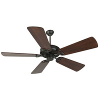 Craftmade K10960 CXL 54 inch Flat Black with Distressed Walnut Blades Ceiling Fan Kit in Light Kit Sold Separately, Premier, 0, Solid Wood Blades, Blades Included