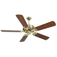 CXL 52 inch Polished Brass with Walnut Blades Ceiling Fan With Blades Included in MDF Blades, Contractor Plus, 0, Light Kit Sold Separately