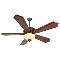 Craftmade K11011 Mia 56 inch Oiled Bronze Gilded with Classic Ebony Blades Ceiling Fan Kit in Amber Frost Glass, Custom Carved, Solid Wood Blades, Blades Included