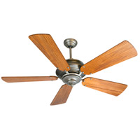 Craftmade K11023 Townsend 54 inch Antique Nickel with Hand-Scraped Teak Blades Ceiling Fan Kit in Pewter, Light Kit Sold Separately, Premier Teak