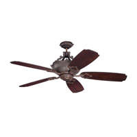 Wellington XL 52 inch Aged Bronze Textured with Walnut Blades Ceiling Fan With Blades Included in Seville Walnut, Custom Carved, 4, Incandescent