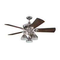 Timarron 54 inch Brushed Polished Nickel with Blackwood Blades Ceiling Fan Kit in Premier, 7, Pewter, Blades Included