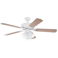 Craftmade K11115 Pro Builder 205 52 inch White with White Washed Blades Ceiling Fan Kit in Custom Carved White Washed, Blades Included
