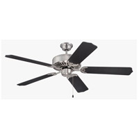 Pro Builder 52 inch Brushed Polished Nickel with Flat Black Blades Ceiling Fan With Blades Included in Contractor Standard