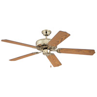 Craftmade K11137 Pro Builder 52 inch Polished Brass with Light Oak Blades Ceiling Fan Kit in Custom Carved Light Oak