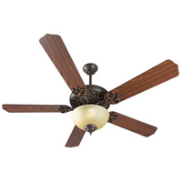 Craftmade K11139 Cecilia Unipack 52 inch Aged Bronze Textured with Dark Oak Blades Ceiling Fan Kit in Tea-Stained Glass, Custom Carved Dark Oak photo thumbnail