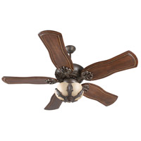 Cordova 52 inch Aged Bronze Textured Walnut Ceiling Fan With Blades Included in Solid Wood Blades, Custom Carved, Tea-Stained Glass