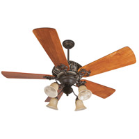 Ophelia 52 inch Aged Bronze/Vintage Madera with Hand-Scraped Teak Blades Ceiling Fan With Blades Included in Solid Wood Blades, Premier, 0, Aged Bronze and Vintage Madera, Tea-Stained Glass