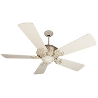 Craftmade K11151 Ophelia 54 inch Antique White Distressed with Antique White Blades Ceiling Fan Kit in Light Kit Sold Separately, Premier, 0, Solid Wood Blades, Blades Included