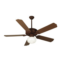 Patio 52 inch Rustic Iron Outdoor Ceiling Fan Kit in Outdoor Standard, Cased White Glass, Blades Included