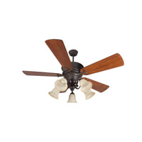 Riata 52 inch Aged Bronze Textured with Distressed Teak Blades Ceiling Fan Kit in Premier, Antique Scavo Glass, Blades Included