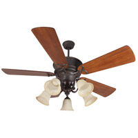 Craftmade K11155 Riata 54 inch Aged Bronze Textured with Distressed Teak Blades Ceiling Fan Kit in Antique Scavo Glass, Premier Distressed Teak