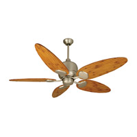 Craftmade K11160 Kona Bay 54 inch Brushed Satin Nickel with Oak Bamboo Blades Ceiling Fan Kit in Light Kit Sold Separately, Tropic Isle, 0, Solid Wood Blades, Blades Included