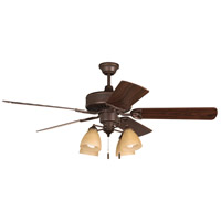 Craftmade K11195 American Tradition 52 inch Oiled Bronze with Walnut Blades Ceiling Fan Kit in Tea-Stained Glass Plus Walnut