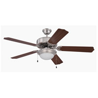 Craftmade K11207 Pro Builder 209 52 inch Brushed Polished Nickel with Walnut Blades Ceiling Fan Kit in Contractor Plus Walnut, Blades Included