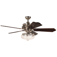 Craftmade K11262 Townsend 56 inch Polished Nickel with Classic Ebony Blades Ceiling Fan Kit in Clear Glass, Custom Carved Classic Ebony