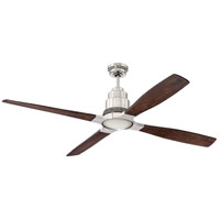 Ricasso 60 inch Brushed Polished Nickel with Walnut Blades Indoor Ceiling Fan Kit