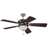 La Playa 54 inch Stainless Steel & Dark Wicker with Dark Wicker Blades Outdoor Ceiling Fan with Blades Included in White Frosted Glass