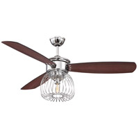 Ellington by Craftmade Lark 1 Light 54-inch Ceiling Fan in Chrome with Dark Walnut and Flat Black Blades LAR54CH3