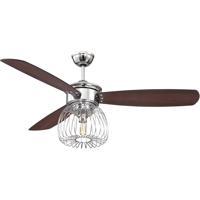 Ellington by Craftmade Lark 1 Light 54-inch Ceiling Fan in Chrome with Dark Walnut and Flat Black Blades LAR54CH3