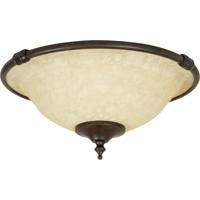 Craftmade LK24-AG-LED Elegance LED Aged Bronze Textured Fan Bowl Light Kit in Antique Scavo Glass, Universal Mount