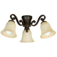 Universal LED Aged Bronze Textured Fan Light Kit in Antique Scavo Glass, Bell