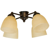 Craftmade LK400-OB-LED Universal LED Oiled Bronze Fan Light Kit in Tea-Stained Glass, Bell
