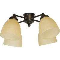 Craftmade LK400-OB-LED Universal LED Oiled Bronze Fan Light Kit in Tea-Stained Glass Bell