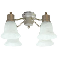 Universal LED Brushed Satin Nickel Fan Light Kit in Alabaster Glass, Bell