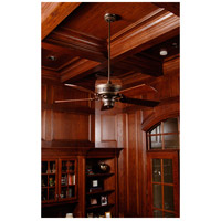 Woodward 54 inch Dark Coffee and Vintage Madera with Hand-Scraped Walnut Blades Ceiling Fan Kit in Light Kit Sold Separately, Premier, Solid Wood Blades, Blades Included
