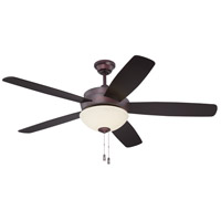 Craftmade LY52OB5-WG Layton 52 inch Oiled Bronze with Reversible Oiled Bronze and Charred Walnut Blades Ceiling Fan in White Frosted Glass Blades