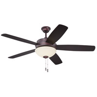 Craftmade LY52OB5 Layton 52 inch Oiled Bronze with Reversible Oiled Bronze and Charred Walnut Blades Ceiling Fan in Amber Frost Glass